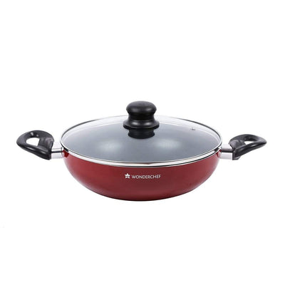 Ruby Series Aluminium Nonstick Wok With Lid -26Cm, 2.95L, Red-Cookware
