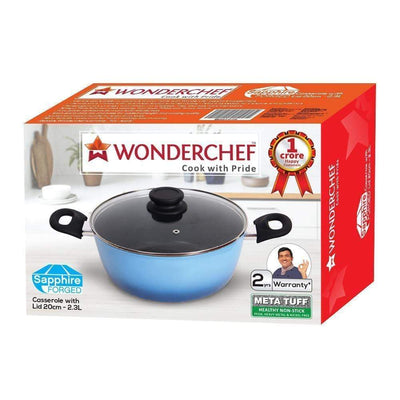 Wonderchef Sapphire Aluminium Forged Casserole with Lid- 20cm, 2.3L, 4mm, Blue-Cookware