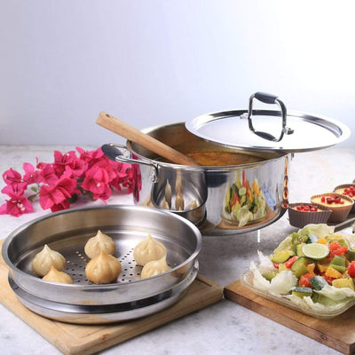 Stanton Stainless Steel Casserole with Steamer attachment - 24cm, 4L, 2.5mm-Cookware