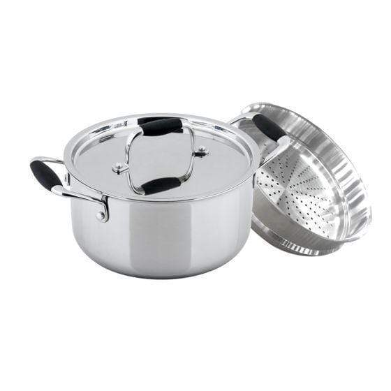 Stanton Stainless Steel Casserole with Steamer attachment - 24cm, 4L, 2.5mm