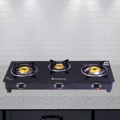 Wonderchef Ultima 3 Burner Glass Cooktop-Cookware