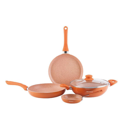 Valencia Aluminium Nonstick Cookware Set, 5Pc, Orange-Cookware