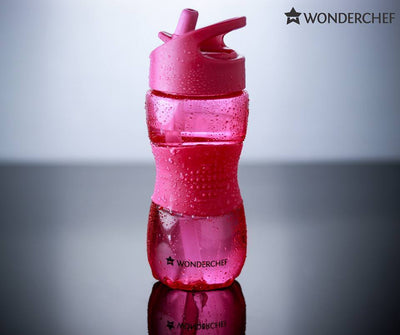 Wonderchef Sippy Water Bottle 350Ml Pink-Flasks