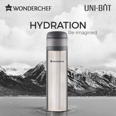Uni-Bot Double Wall Stainless Steel Vaccum Insulated Hot and Cold Flask 500ml, Silver-Flasks