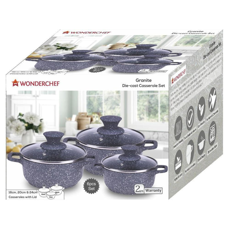 Wonderchef Granite Die-Cast Casserole Set 6Pc