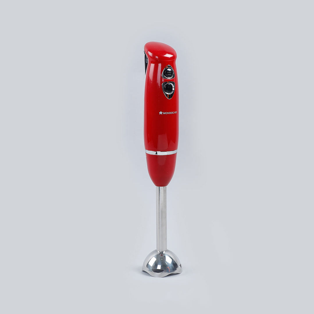 Wonderchef Hand Blender Crimson Edge, Thin Body, Low Noise Operation, Sharp Stainless Steel Blades, Detachable Shaft, 2 Years Warranty, 400W, Red