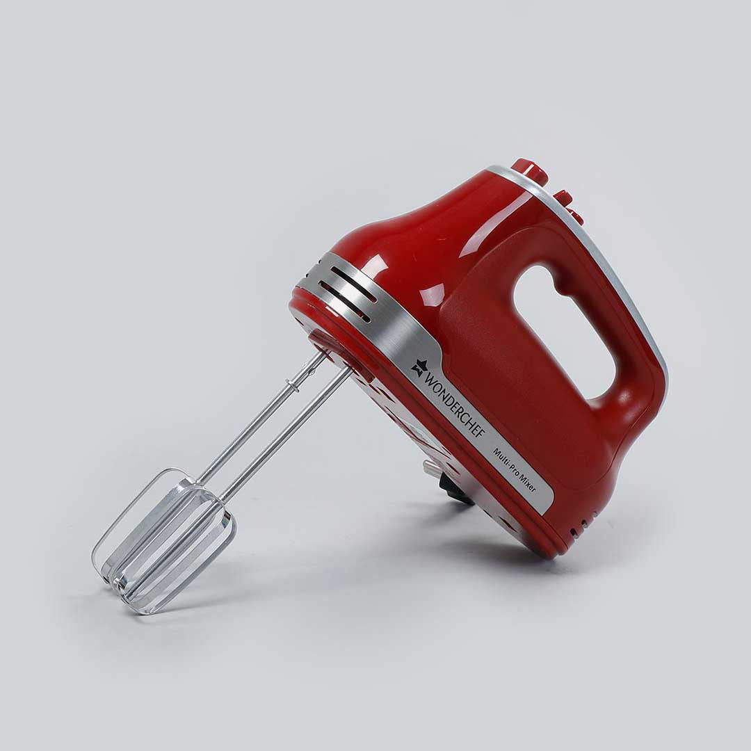 Wonderchef Hand Mixer Crimson Edge, 5 Speed Setting, with Stainless Steel Beaters and Dough Hooks, 2 Years Warranty, 300W, Red