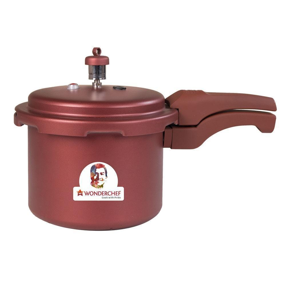 Wonderchef HealthGuard Induction Base Aluminium Nonstick Pressure Cooker with Outer Lid, 3L, Maroon