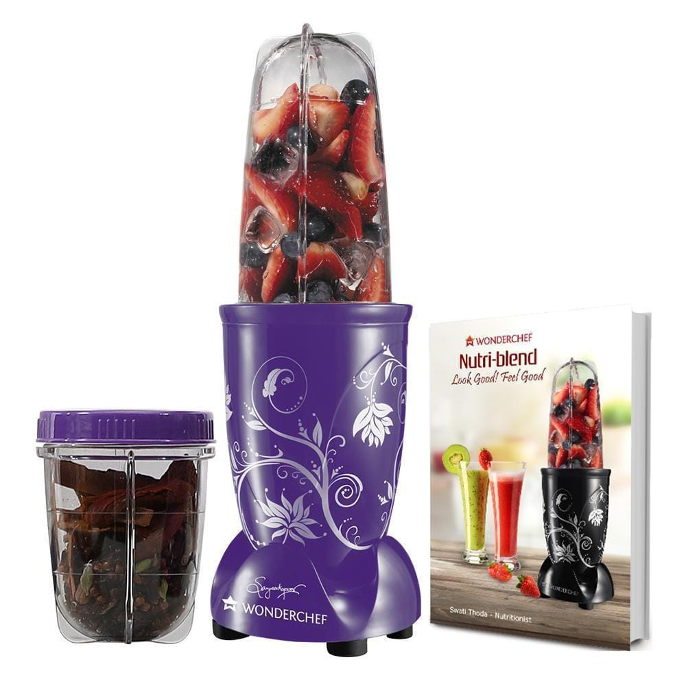 Nutri-blend, 22000 RPM Mixer-Grinder, Blender, SS Blades, 2 unbreakable Jars, 2 Years warranty, 400 W-Purple with Serving Glass Set, includes Exclusive Recipe book by Chef Sanjeev Kapoor