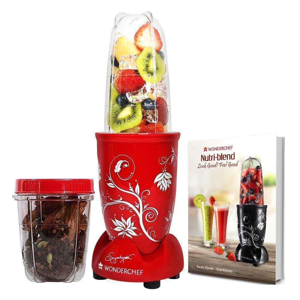 Nutri-blend, 22000 RPM Mixer-Grinder, Blender, SS Blades, 2 unbreakable Jars, 2 Years warranty, 400 W-Red with Serving Glass Set, Online Recipe Book By Chef Sanjeev Kapoor