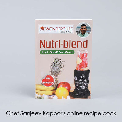 Nutri-Blend 22000 RPM Mixer-Grinder, Blender, SS Blades, 3 Unbreakable Jars With Juicer Attachment, 2 Years Warranty, 400 W-White, Online Recipe Book By Chef Sanjeev Kapoor-Nutri-blend
