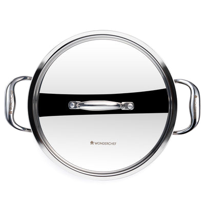 Wonderchef Nigella 3-Ply Stainless Steel Kadhai 24cm-Cookware