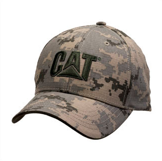 Cat Olive Trademark Logo Digital Camo Structured Adjustable Cap