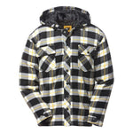 Cat Men's Plaid Flannel Hooded Jacket