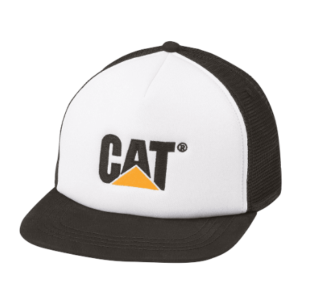 Cat Trademark Logo Foam and Mesh Adjustable Cap (Flat Bill)