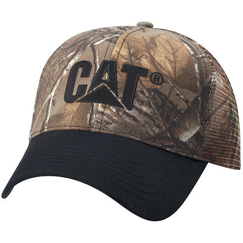 Cat Camo Black Brim Adjustable Mesh Cap