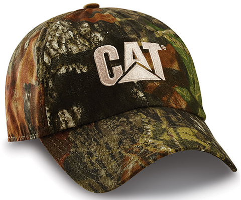 Cat White Logo Camo Adjustable Cap