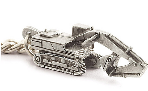Pewter Excavator Key Chain