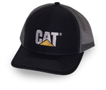 Cat Trademark Logo Gray Mesh Structured Adjustable Cap