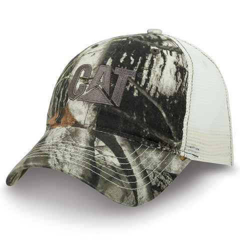 Cat Gray Trademark Logo Camo Unstructured Mesh Snap Back Adjustable Cap
