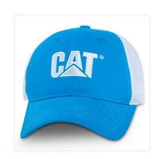 Cat White Trademark Logo Blue and White Mesh Structured Adjustable Cap