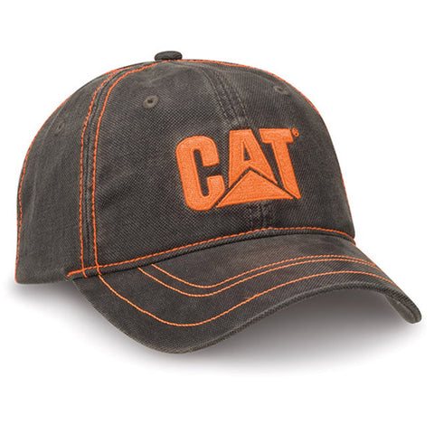 Cat Orange Trademark Logo Textured Unstructured Adjustable Cap