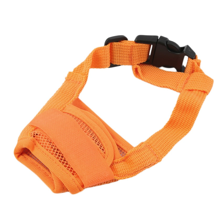 Collier Anti Aboiement en Nylon Orange / Réglable et respirant
