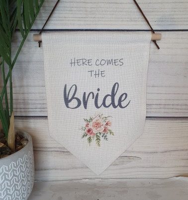 Here Comes The Bride Pennant Banner