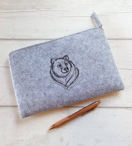Embroidered Felt Pouch