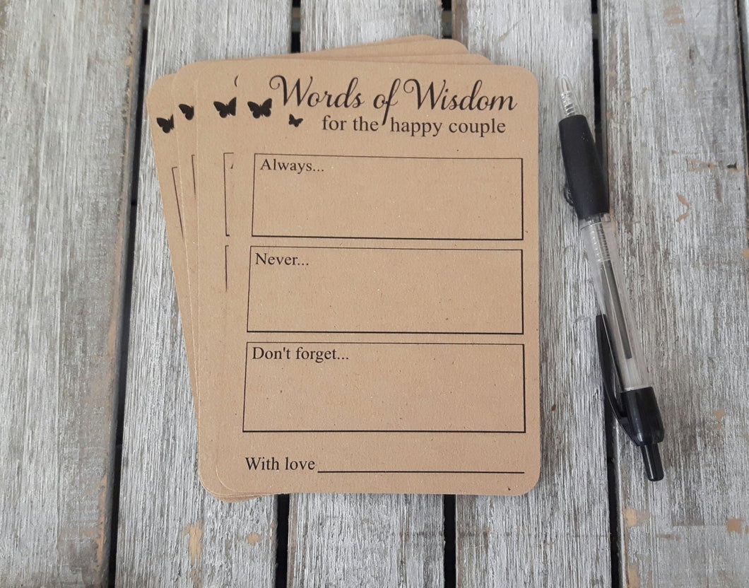 Words of Wisdom cards,advice cards,weddings