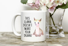 Load image into Gallery viewer, Drama Llama Mug,Drama Llama,Save the Drama for your Llama,funny mug,gift,pets