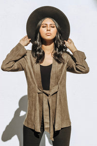 Olive Faux Suede Jacket - NewPalm Collection