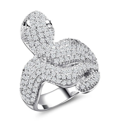 Grosse Bague Serpent Zirconium