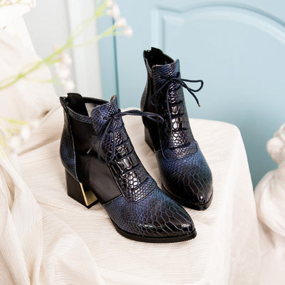 Bottines Serpent Bleu