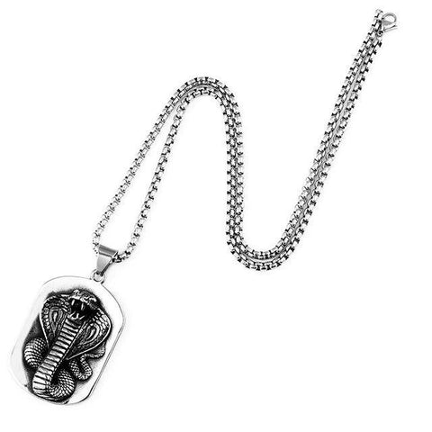 Collier Serpent <br> Plaque Cobra (Acier)