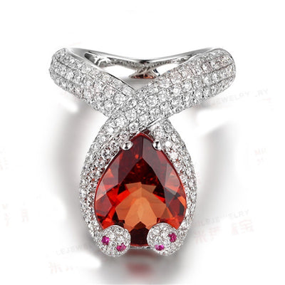 Bague Serpent Pierre Rouge