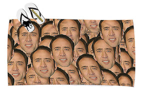 Nicholas cage faces everywhere Large Beach towel