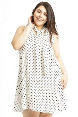 cream polka dress