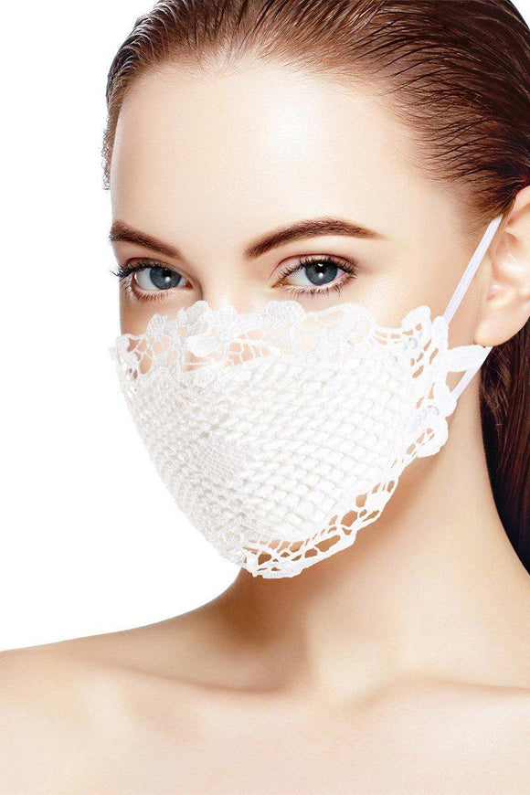 White 3d Lace Face Mask