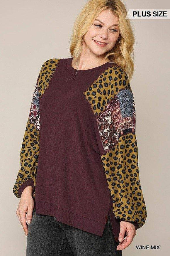 Animal And Paisley Print Mixed Tunic Top With Side Slit