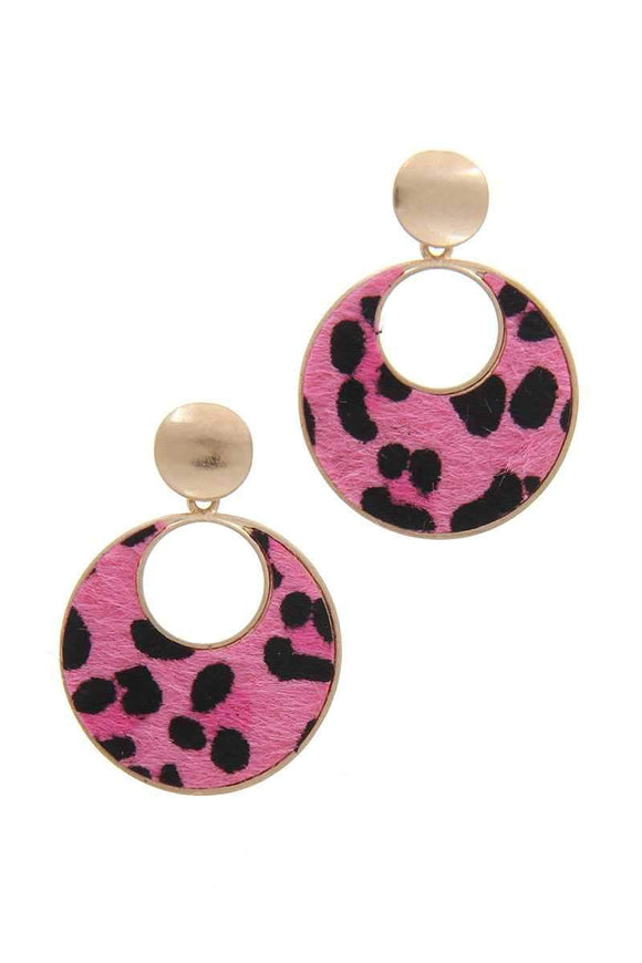 Jewelry Pink Animal Post Drop Earring- Pink/White/Beige/Green