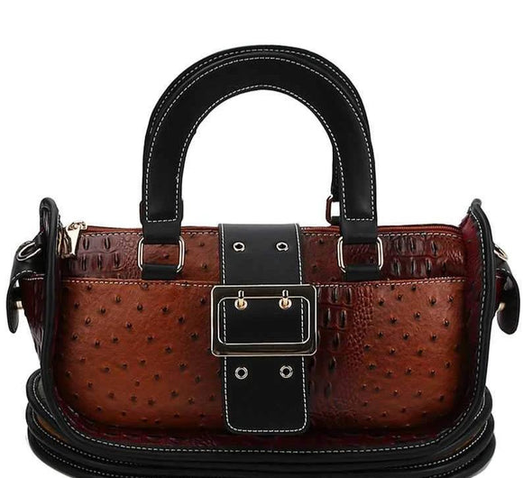 Handbags Cognac Buckle Accent Satchel- Assorted Colors