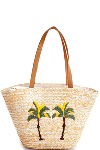 Natural Chic Modern Natural Straw Woven Palm Tree Shopper Bag