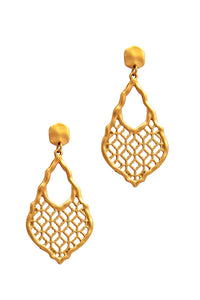 Jewelry Gold Chic Moroccan Pattern Drop Earring- Assorted Colors