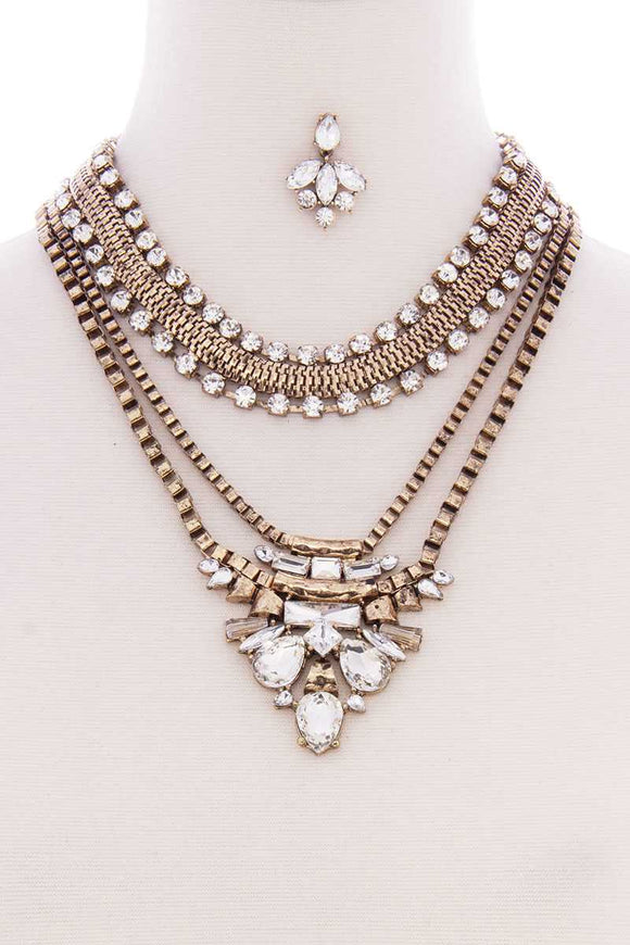Jewelry Chunky Antique Boho Bohemian Statement Necklace Earring Set