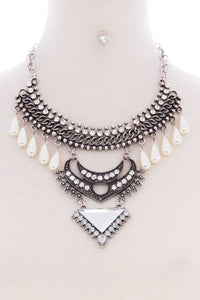 Chunky Pearl Antique Stone Necklace Earring Set- Silver/Gold