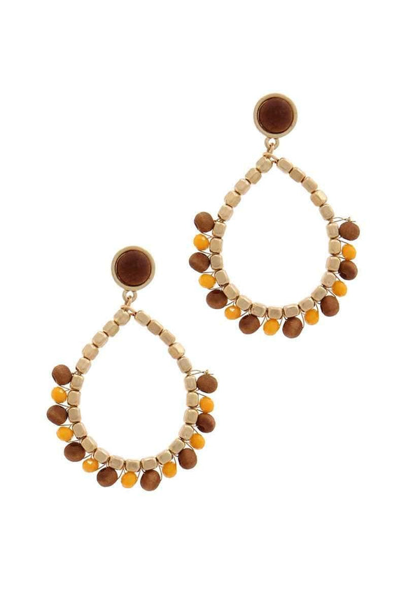 Jewelry Mustard Circle Beaded Drop Earring-Mustard/Ivory/Black