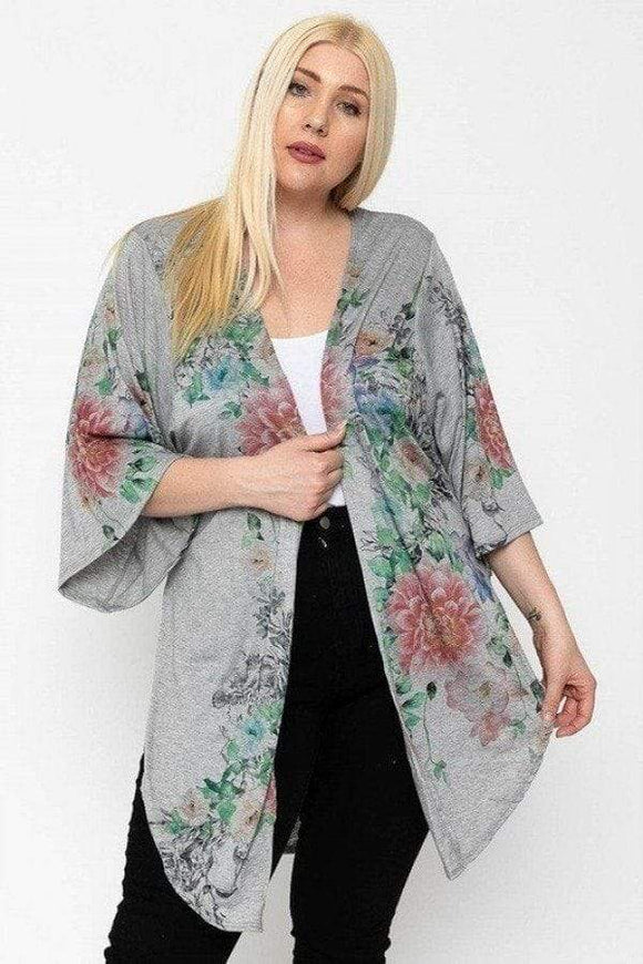 Tops Floral Print Kimono Style Sleeve Long Body Cardigan
