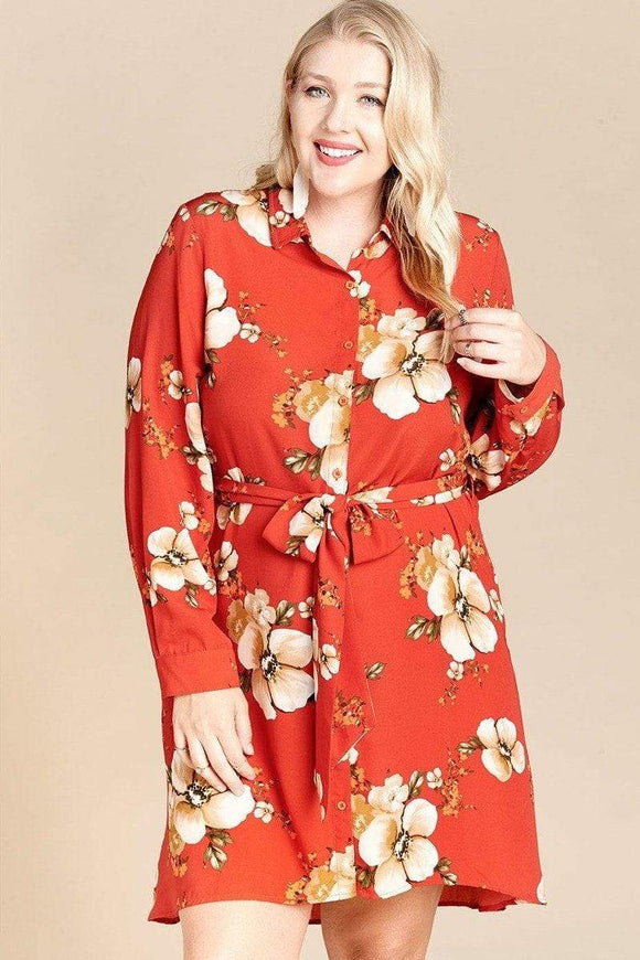 Dresses Rust / 1XL Floral Woven Button-down Collared Shirt Dress- Rust/Eggplant