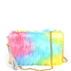 Multi Multi Color Fur With Wrist Band Pouch Bag